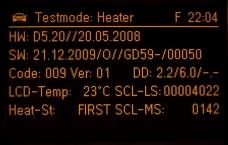 Zobrazení SW verze grafického displeje v testovacím módu – zde GD59