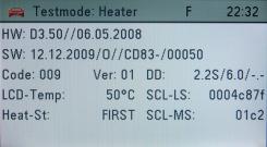Zobrazení SW verze barevného displeje v testovacím módu – zde CD83