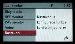 Otevřené hlavní menu modulu MKJ