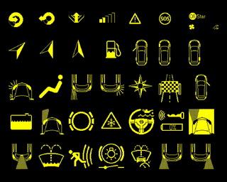 Piktogramy používané v GID displejích vozů OPEL Astra-H, Vectra-C a Zafira-B
