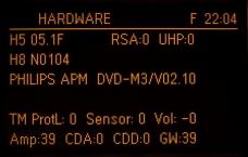 Zobrazení HW verze navigace v testovacím módu – zde N0104