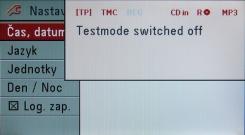 Zobrazení při deaktivaci testovacího módu na barevném displeji