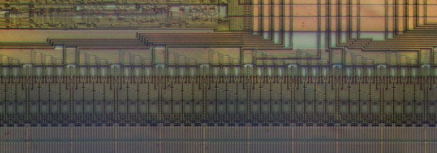Takhle vypadá část paměti ROM s kousky adresových dekodérů a multiplexerů v jednočipovém mikropočítači NEC 78K058